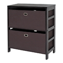 Winsome 92386 Torino 3-PC Set Storage Shelf w/ Black Fabric Baskets