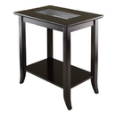 Winsome 92419 Genoa Rectanugular End Table with Glass Top and shelf