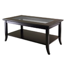 Winsome 92437 Genoa Rectanuglar Coffee Table with Glass top and Shelf
