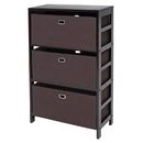 Winsome 92438 Torino 4-PC Set Storage Shelf w/ Black Fabric Baskets