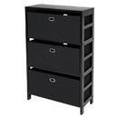 Winsome 92459 Torino 4-PC Set Storage Shelf w/ Black Fabric Baskets