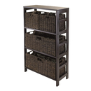 Winsome 92533 Granville 5pc Storage Shelf with 2 Large and 2 Small Foldable Baskets, Espresso