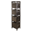 Winsome 92541 Granville 5pc Storage Tower Shelf with 4 Foldable Baskets, Espresso