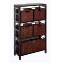 Winsome 92625 Leo 6pc Shelf and Baskets; Shelf, 4 Small and 1 Large Baskets; 3 cartons