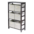 Winsome 92851 Capri 3-Section M Storage Shelf with 6 Foldable Beige Fabric Baskets