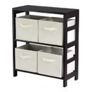 Winsome 92861 Capri 2-Section M Storage Shelf with 4 Foldable Beige Fabric Baskets