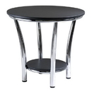 Winsome 93219 Maya Round End Table, Black Top, Metal Legs