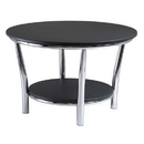 Winsome 93230 Maya Round Coffee Table, Black Top, Metal Legs