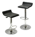 Winsome 93329 Wood Set of 2, Adjustable Air Lift Stool, Black Faux Leather, RTA