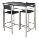 Winsome 93336 Hanley 3-pc High Table with 2 High Back Stools