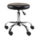 Winsome 93720 Clark PU Cushion Swivel & Adjustable Stool, Black & Silver Finish