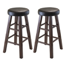 Winsome 94026 Marta 2-pc Set Counter Stool w/ Espresso Cushion Seat, Antique Walnut Finish