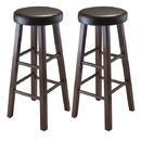 Winsome 94031 Marta 2-pc Set Bar Stool w/ Espresso Cushion Seat, Antique Walnut Finish