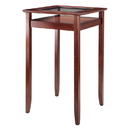 Winsome 94127 Halo Pub Table with Glass Inset & Shelf, Walnut