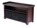 Winsome 94201 Wood Verona Storage Bench with 3 Foldable Black Color Fabric Baskets