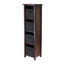 Winsome 94261 Verona 4-Section N Storage Shelf with 4 Foldable Black Color Fabric Baskets