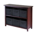 Winsome 94291 Verona 2-Section W Storage Shelf with 6 Foldable Black Fabric Baskets