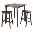 Winsome 94300 3pc Kingsgate High/Pub Dining Table with Saddle Stool