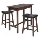 Winsome 94304 3pc Kitchen Island Table with 2 Cushion Saddle Seat Stools