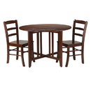 Winsome 94305 Alamo 3-Pc Round Drop Leaf Table with 2 Ladder Back Chairs