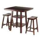 Winsome 94308 Orlando 3-Pc Set High Table, 2 Shelves w/ 2 Saddle Seat Stools