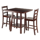 Winsome 94312 Orlando 3-Pc Set High Table, 2 Shelves w/ 2 Ladder Back Stools