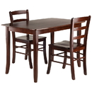 Winsome 94319 Inglewood 3-PC Set Dining Table w/ 2 Ladderback Chairs