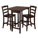 Winsome 94334 Lynnwood 3pc Drop Leaf High Table with 2 Counter Ladder Back Stool/Chair