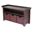 Winsome 94341 Bench with Storage shelf and 3 Small Baskets; 2 cartons