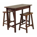 Winsome 94344 3pc Kitchen Island Set; Table with 2 Drawers and Saddle Stools