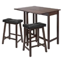Winsome 94346 3pc Lynnwood Drop Leaf Kitchen Table with 2 Cushion Saddle Seat Stools