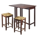 Winsome 94347 Lynwood 3pc Drop Leaf Table with Rush Seat Stool