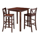 Winsome 94348 Parkland 3-Pc High Table with 2 Bar V-Back Stools