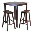 Winsome 94349 Parkland 3pc Square High/Pub Table Set with 2 Saddle Seat Stools