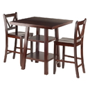 Winsome 94351 Orlando 3-Pc Set High Table, 2 Shelves w/ 2 V-Back Counter Stools