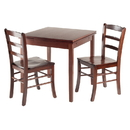 Winsome 94352 Pulman 3-Pc Set Extension Table 2 Ladder Back Chairs