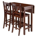 Winsome 94355 Lynnwood 3-Pc Drop Leaf Table with 2 Counter V-Back Stools