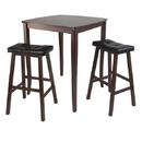Winsome 94360 3pc Inglewood High/Pub Dining Table with Cushioned Saddle Stool
