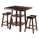 Winsome 94362 Orlando 3-Pc Set High Table, 2 Shelves w/ 2 Cushion Seat Stools