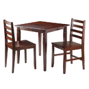 Winsome 94363 Kingsgate 3-Pc Dinning Table with 2 Hamilton Ladder Back Chairs
