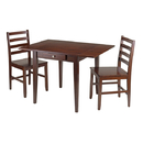 Winsome 94366 Hamilton 3-pc set Drop Leaf Table w/2 Ladder Back Chairs, Antique Walnut Finish