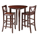 Winsome 94385 Fiona 3-Pc High Round Table with 2 Bar V-Back Stool