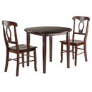 Winsome 94388 Clayton 3-PC Set Drop Leaf Table with 2 Keyhole Back Chairs