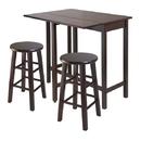 Winsome 94394 Lynnwood Drop Leaf Island Table with 2 Square Legs Stool Walnut