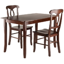 Winsome 94398 Inglewood 3-PC Set Dining Table w/ 2 Key Hole Back Chairs