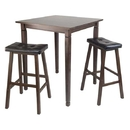 Winsome 94399 3pc Kingsgate High/Pub Dining Table with Cushioned Saddle Stool
