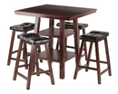 Winsome 94506 Orlando 3-Pc Set High Table, 2 Shelves w/ 4 Cushion Seat Stools