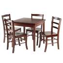 Winsome 94535 Pulman 5-PC Set Extension Table with Ladder Back Chairs, Walnut