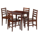 Winsome 94537 Kingsgate 5-Pc Dining Table with 4 Hamilton Ladder Back Chairs