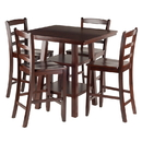Winsome 94542 Orlando 5-Pc Set High Table, 2 Shelves w/ 4 Ladder Back Stools